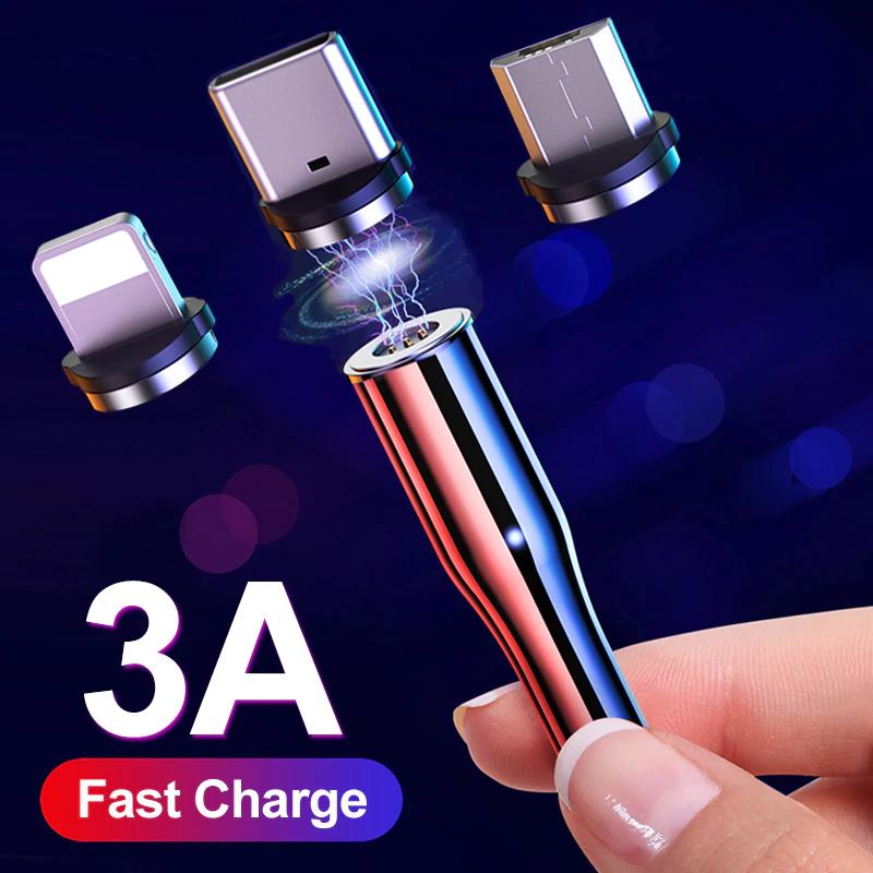 YKZ okrągłe kabelki magnetyczne USB 3A z LED 1m