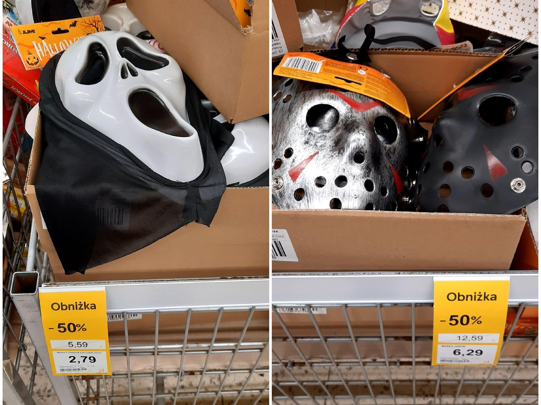 "Maska ""Krzyk"" z czarnym kapturem / Maska ""Jason"" / Maska ""Piła"" (maski, akcesoria na Halloween -50%) - Tesco (ogólnopolska)"