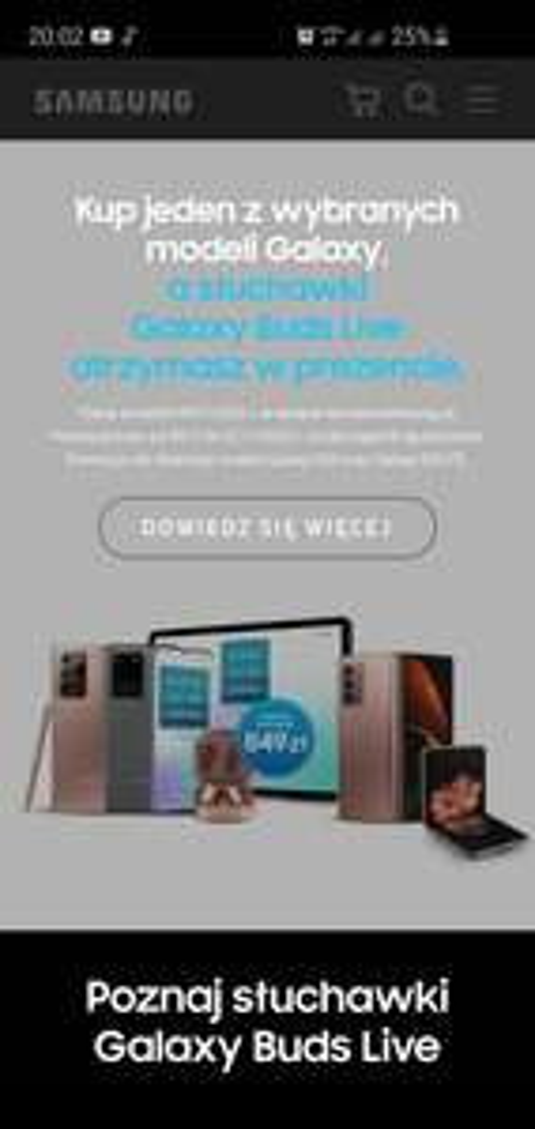 Przy zakupie wybranych modeli Galaxy słuchawki Samsung Buds Live gratis