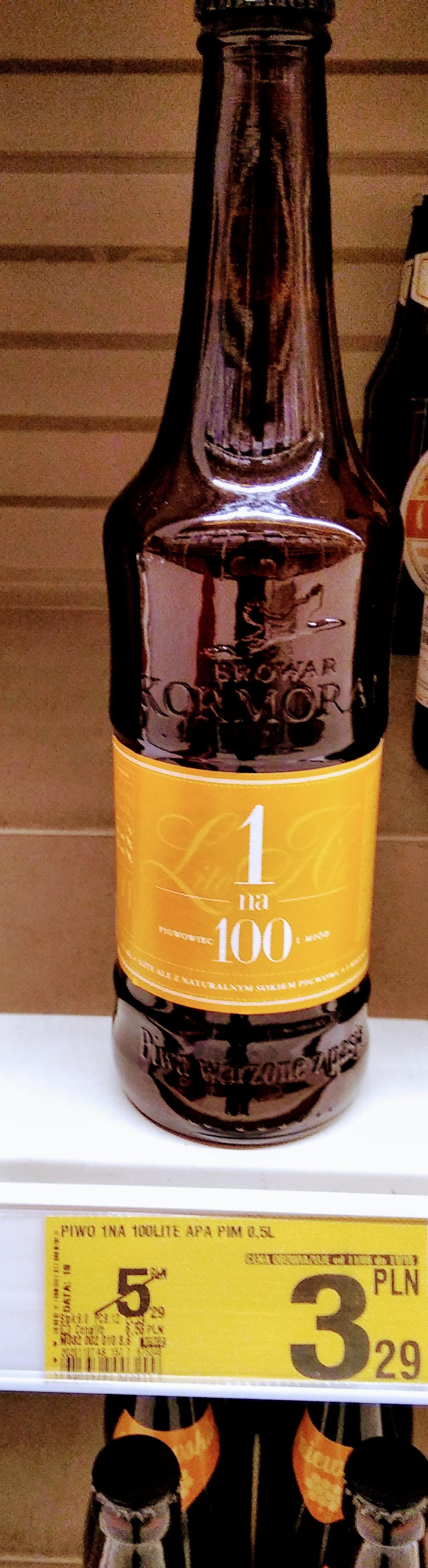 Piwo 1 na 100 Pigwowiec i miód browar Kormoran 1% alkoholu, butelka bezzwrotna,Auchan Gliwice