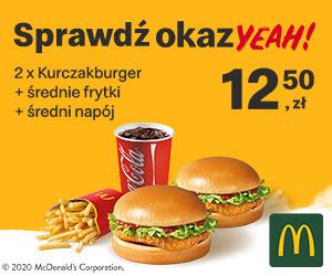 OkazYEAH! 2 x Kurczakburger + średnie frytki + średni napój!