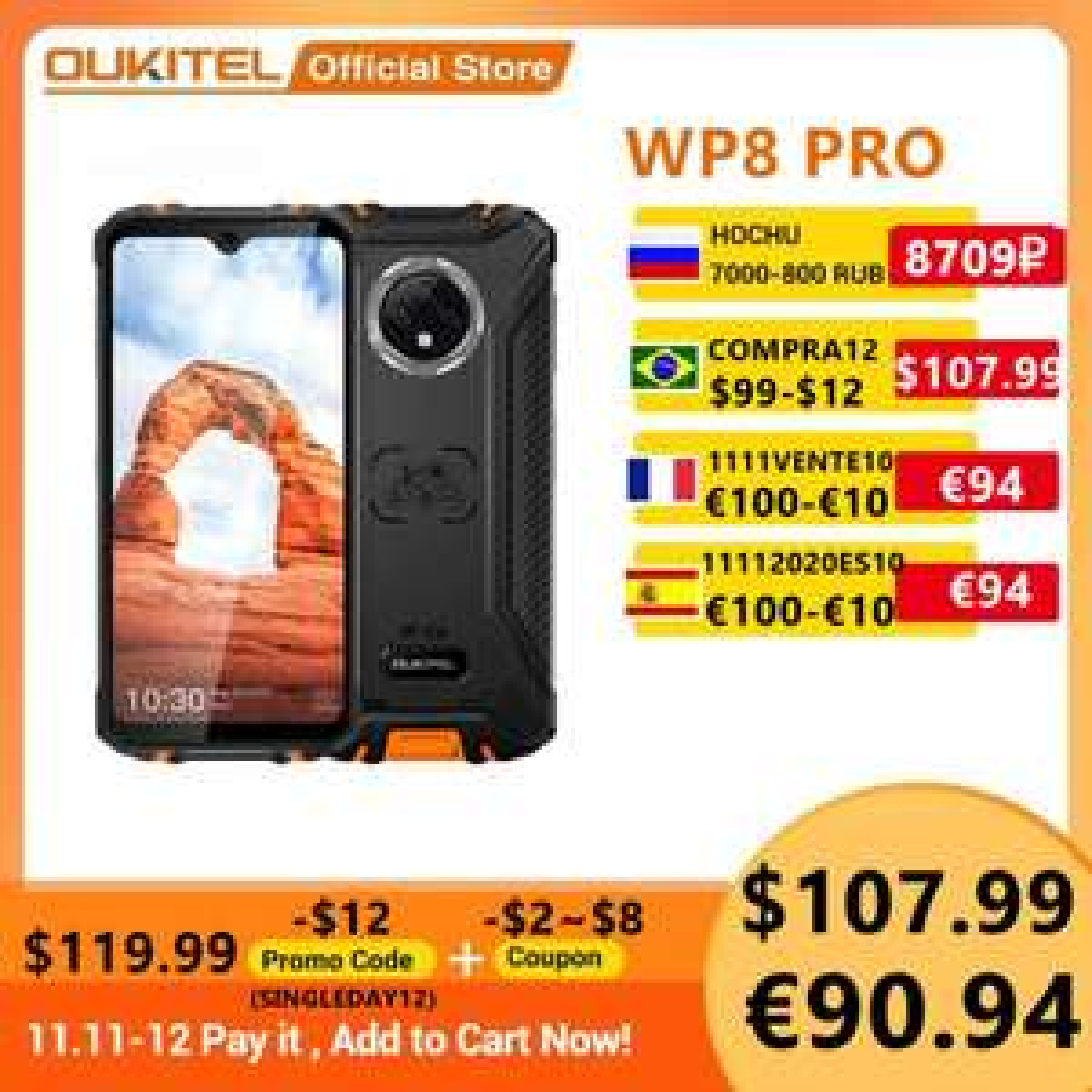 Pancerny smartfon smartphone OUKITEL WP8 Pro NFC IP68 6.49'' Android 10 4GB 4/64GB 5000mAh 16MP - 113.39 $ - 11.11