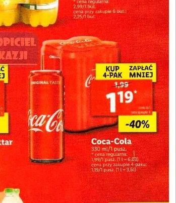 Coca Cola 1.19 za puszkę 330ml przy zakupie 4-paka. Lidl.