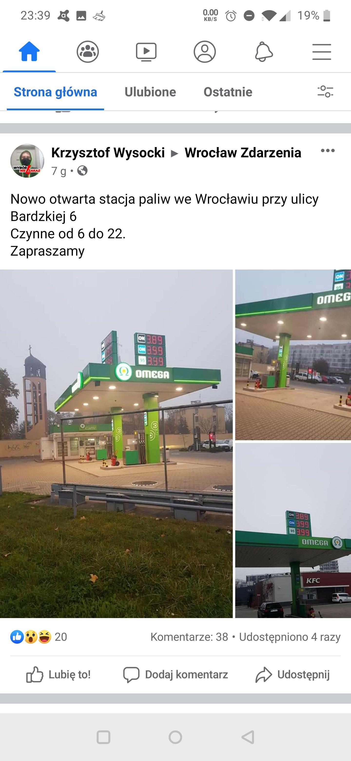 Wrocław bardzka 6 tania benzyna 3,99 i diesel 3,89