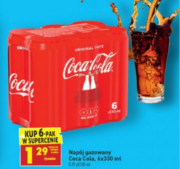 6-Pak Coca-cola 1,29zł/330ml - Biedronka