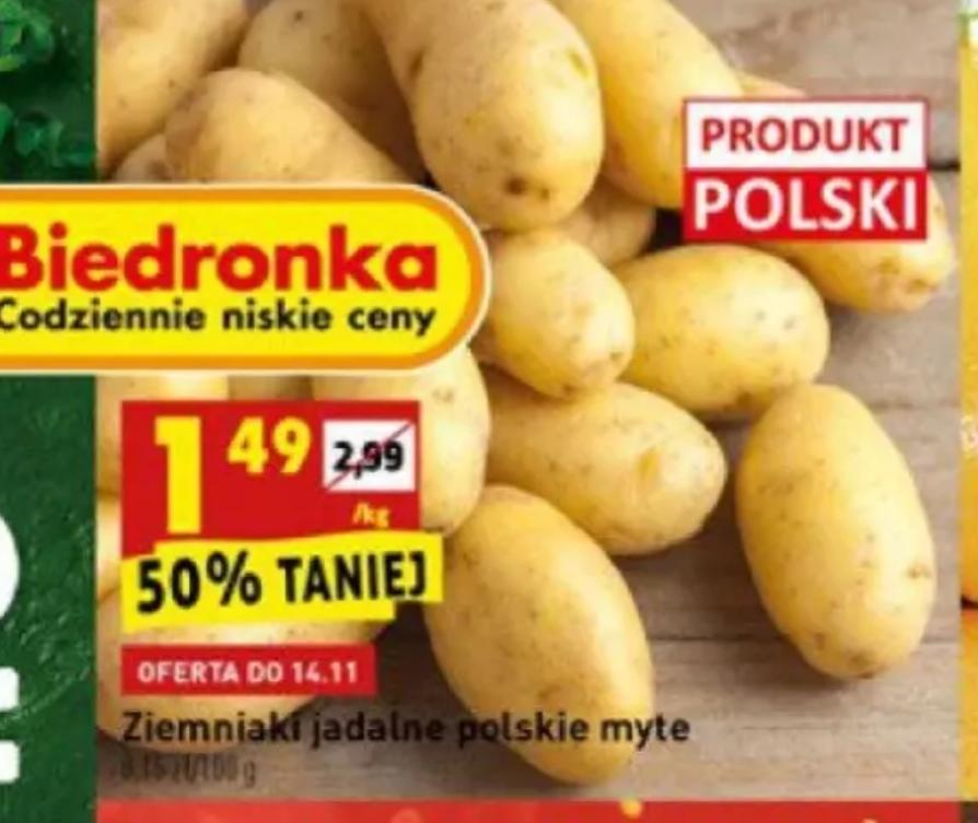 Ziemniaki 1,49/kg w Biedronce
