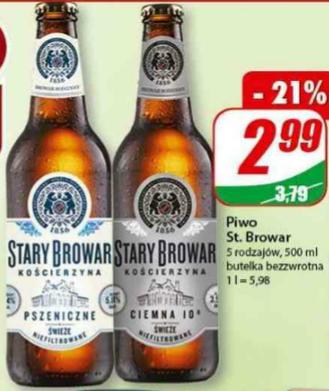 Piwo Stary Browar Kościerzyna, 5 rodzajów. Możliwa cena 2,71zł (Kup 11, płać za 10) Dino