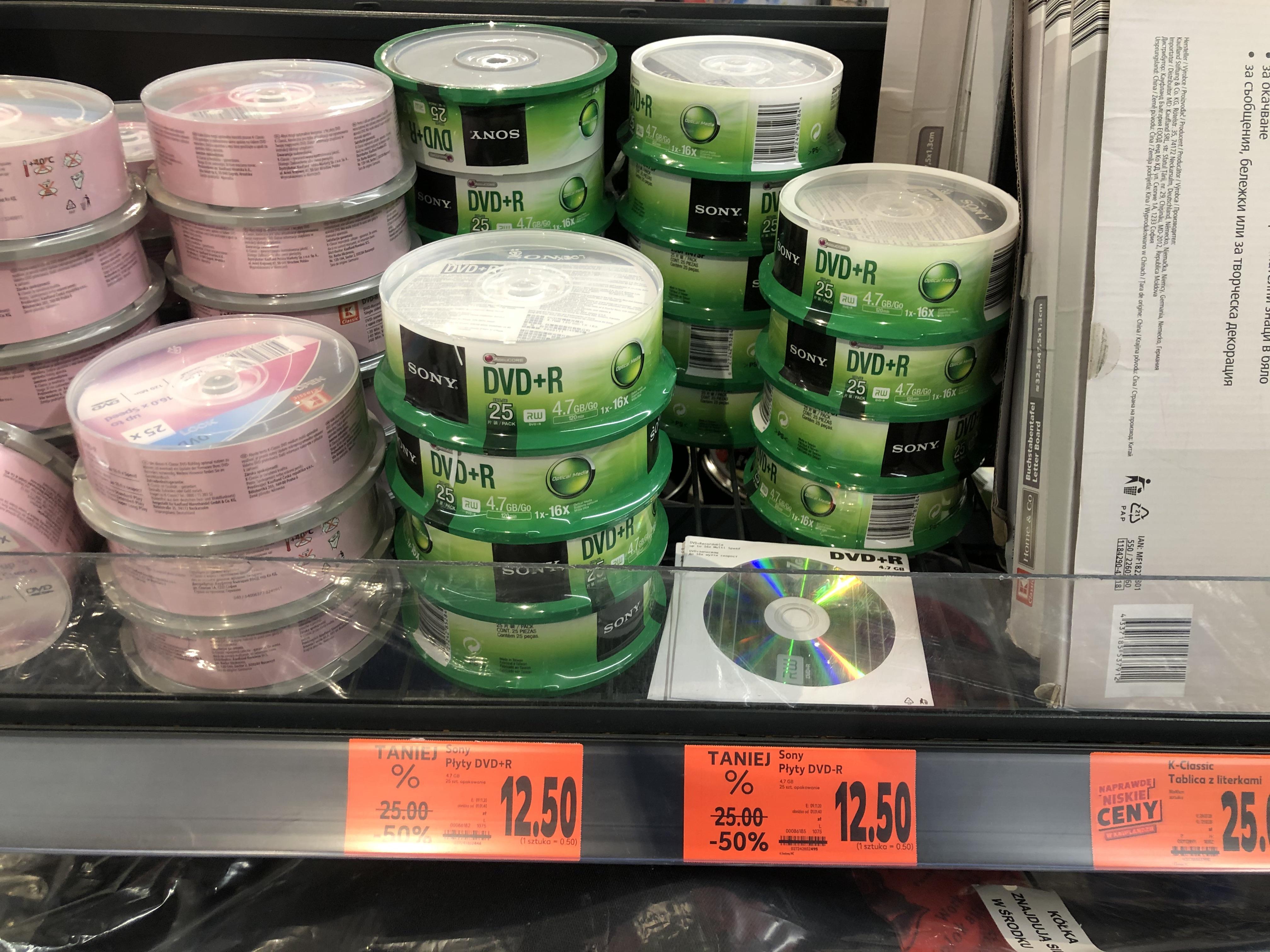 Płyty SONY DVD+R/DVD-R 4.7GB 16x cake 25 sztuk Kaufland Wielicka Kraków
