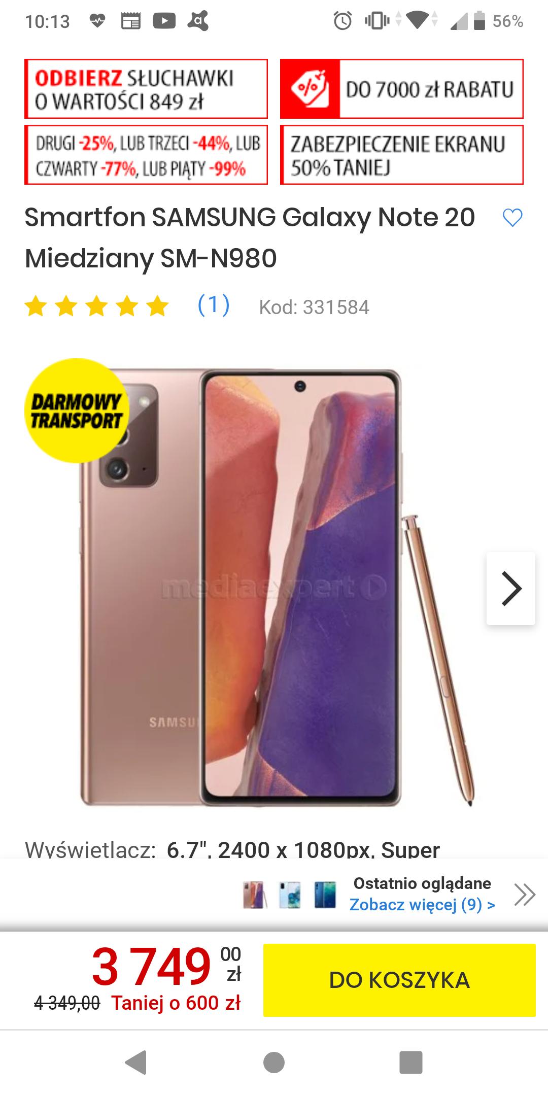 Smartfon SAMSUNG Galaxy Note 20 8+256 Miedziany SM-N980