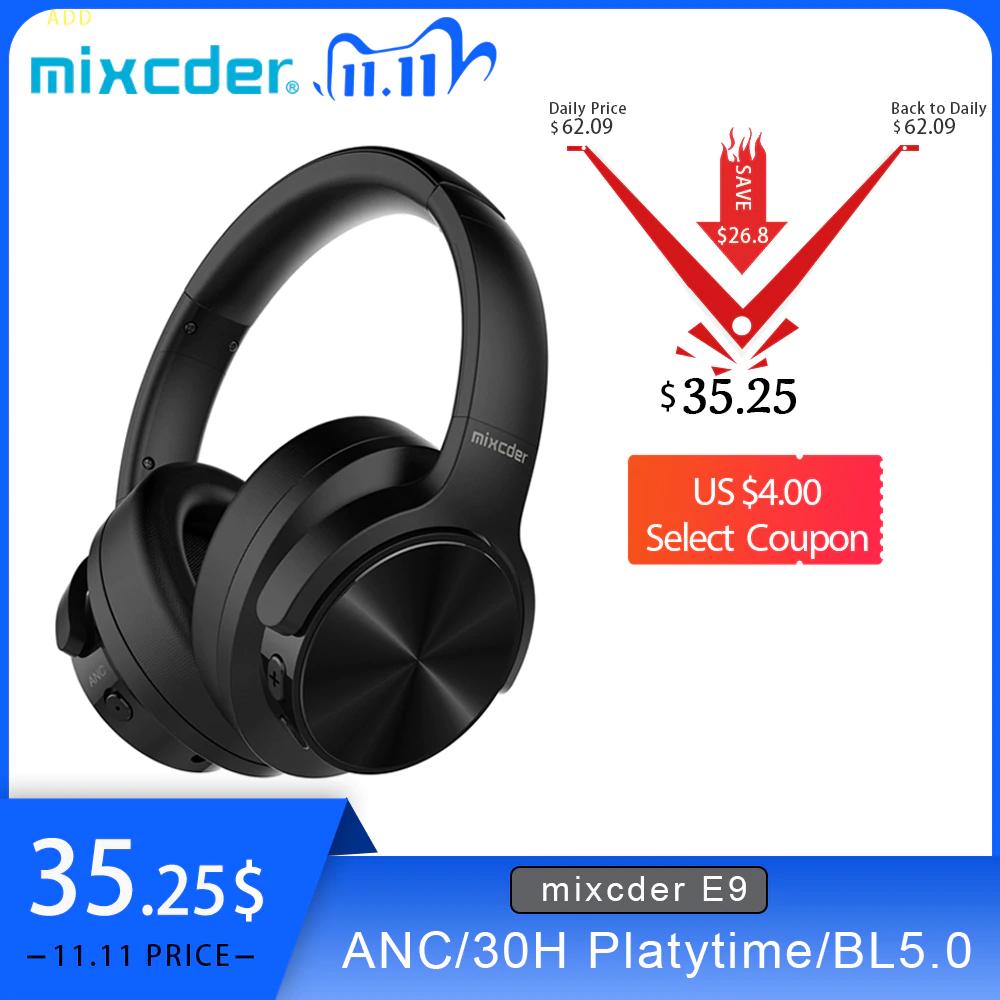 Mixcder E9 Aktywne słuchawki bezprzewodowe Bluetooth z redukcją szumów.