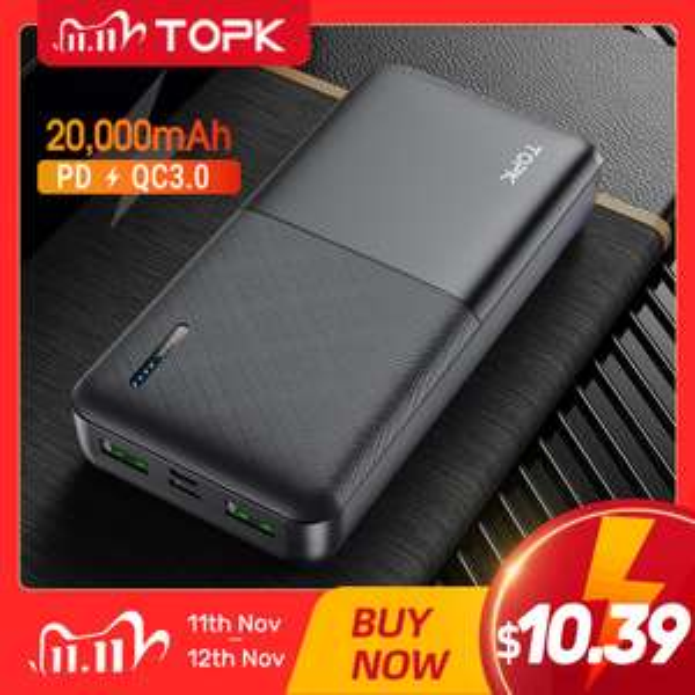 Powerbank TOPK 20000mAh (QC 3.0, PD 3.0) z wysyłką z Polski @ AliExpress