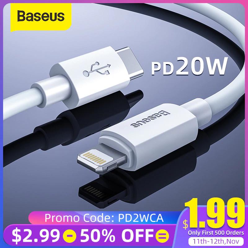 Kabel Baseus USB-C Lightening - 4,37$ za zakup dwóch sztuk