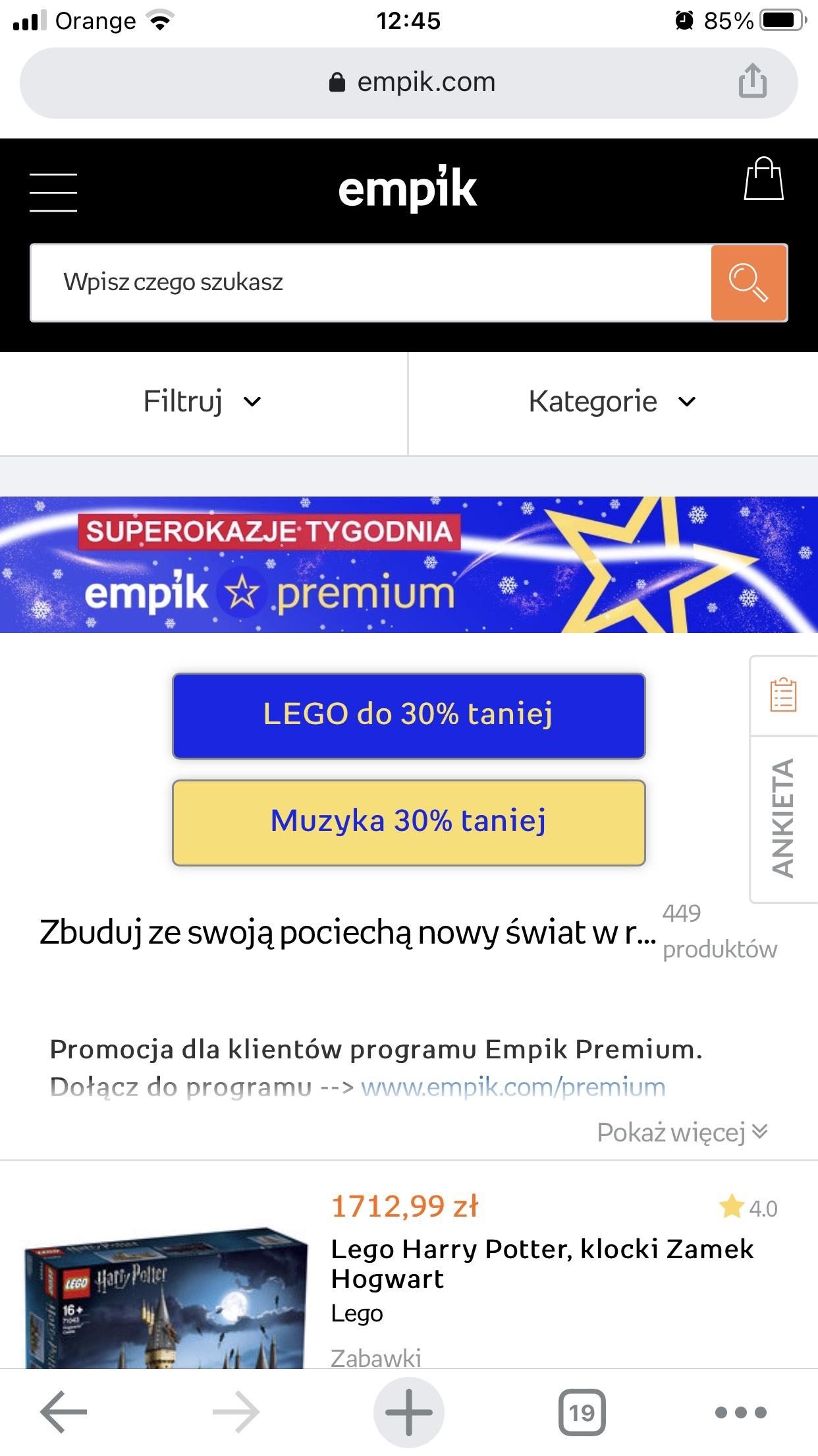 Empik Premium -30% na lego i muzukę