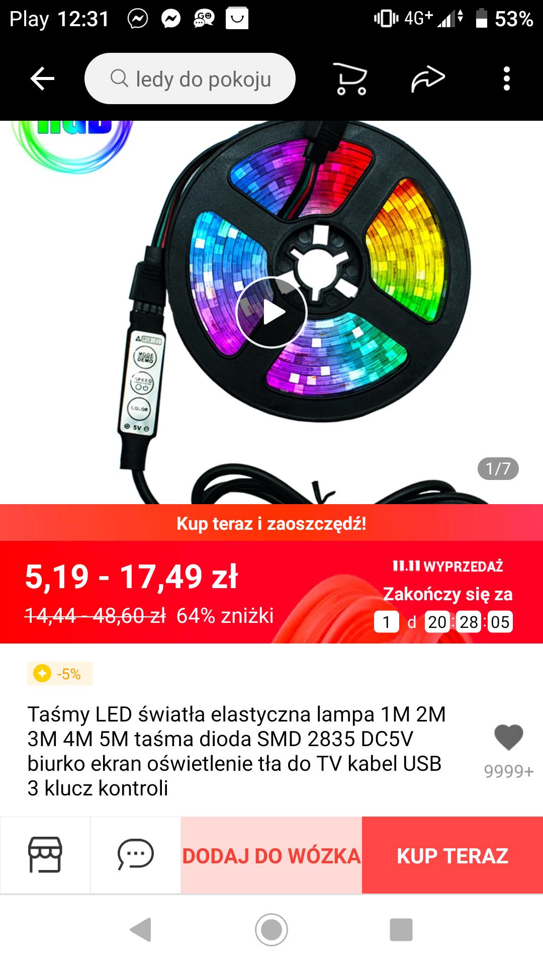 Taśma LED od 1 - 5 metrów pod TV i nie tylko. Wejście USB