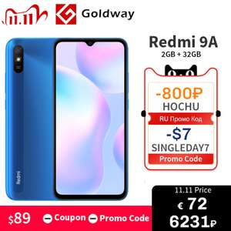 Smartfon Xiaomi Redmi 9A 2/32gb za 83.07$ @Aliexpress