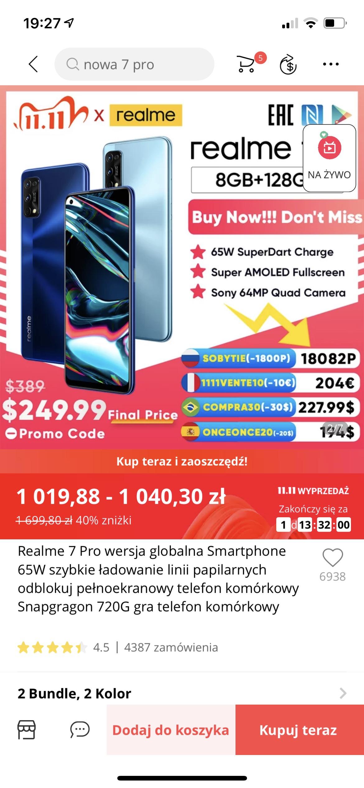 Realme 7 Pro 8/128 ($259.46)
