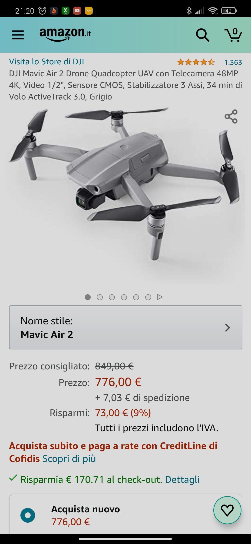 Dron DJI Mavic Air 2 z włoskiego Amazon (612,32€)