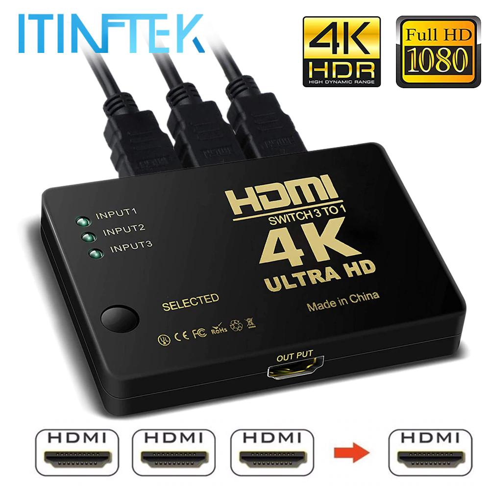 Przełącznik HDMI 4K wraz z pilotem aliexpress 4,23 USD , najtańsza wersja za 10 zł