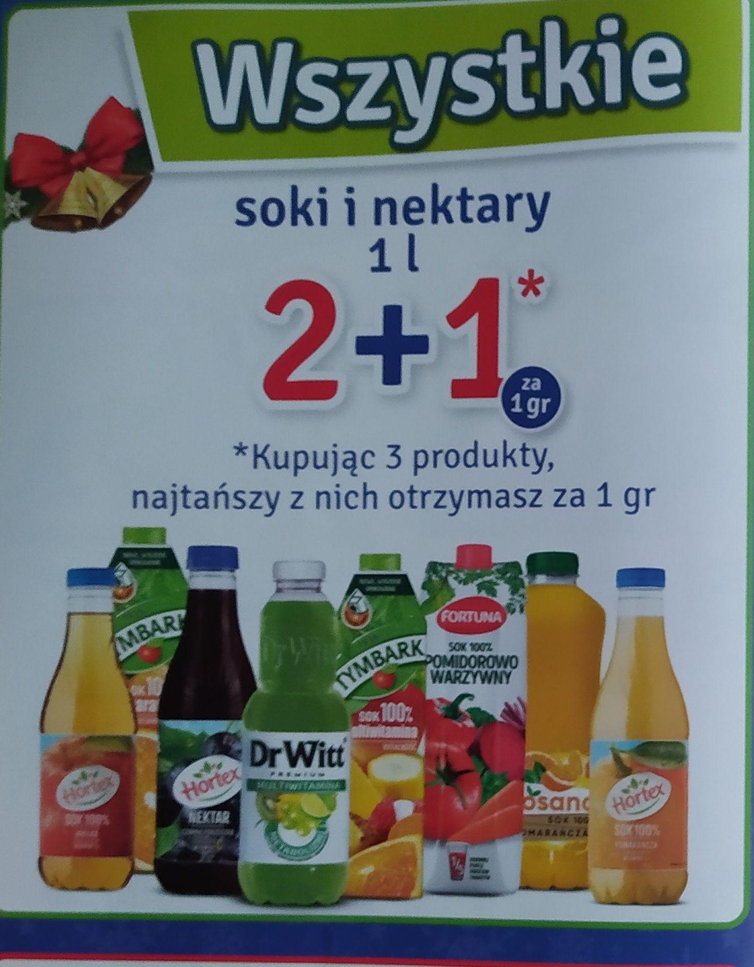 Wszystkie soki i nektary 2+1 za grosz Stokrotka Optima Lublin
