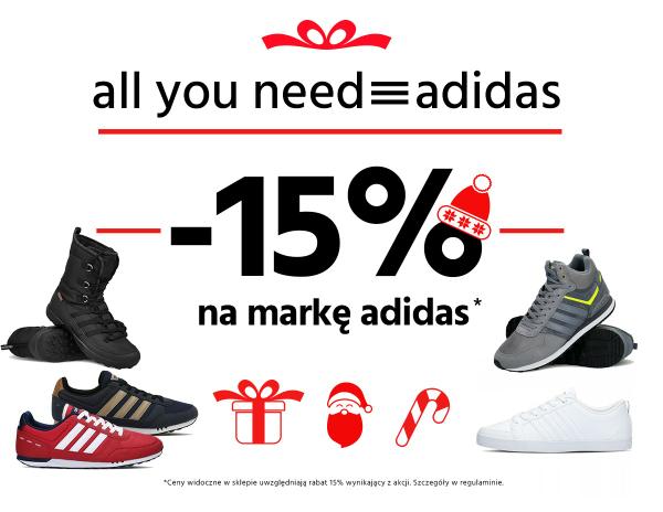 -15%  marka Adidas na buty sportowe.pl