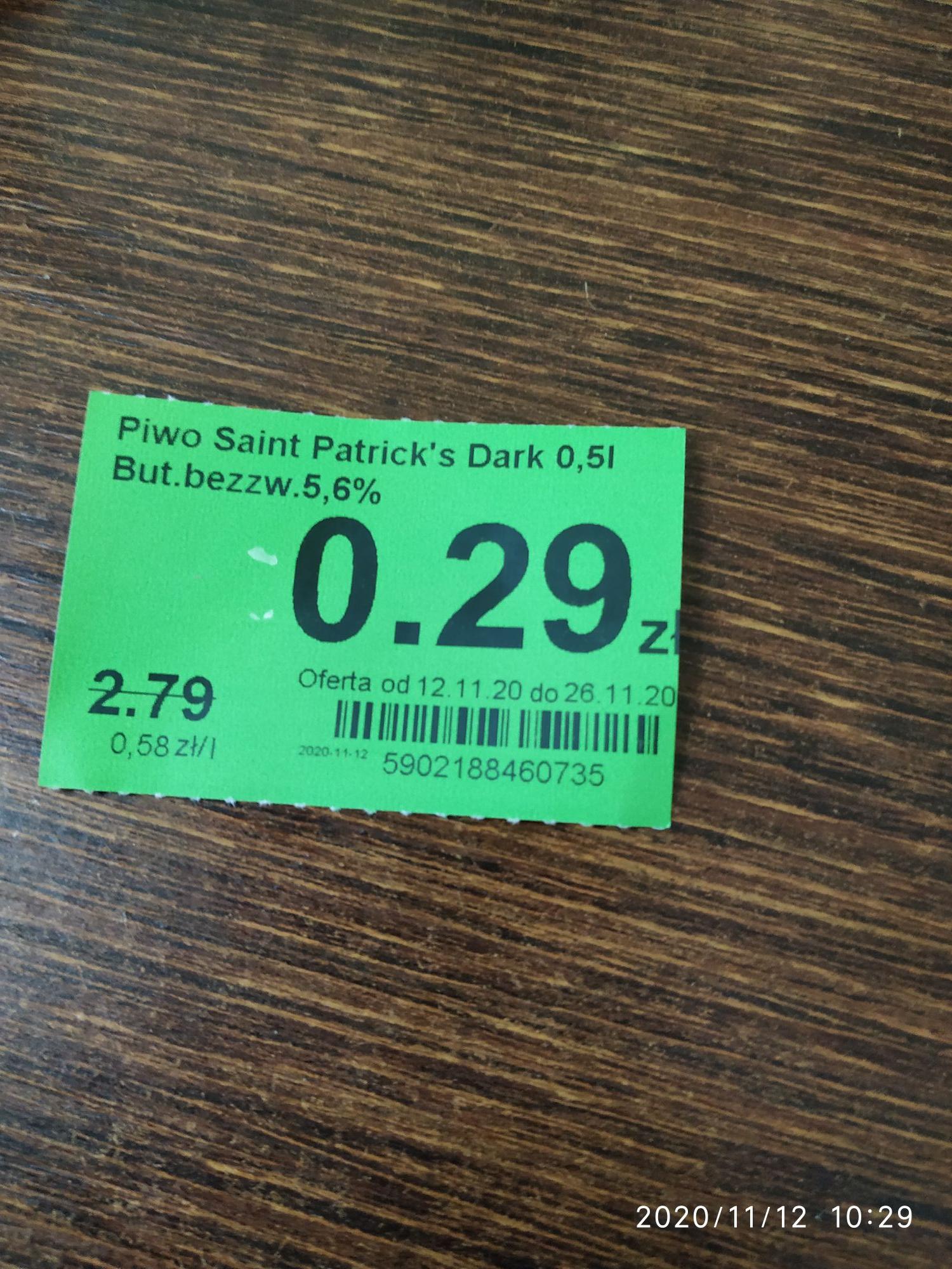 Piwo Saint Patrick's Dark w Dino