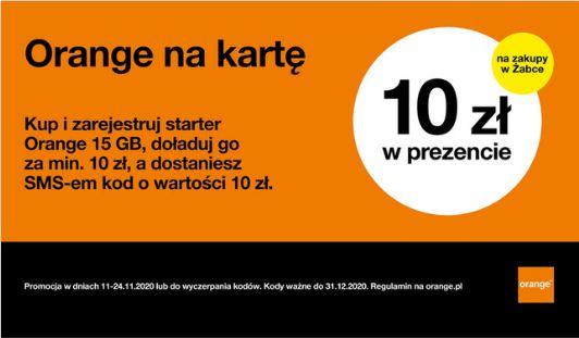 Żabka, Orange Kup i zarejestruj starter Orange 15gb, doładuj go za min 10zł, a otrzyma e-kod 10zł do żabki