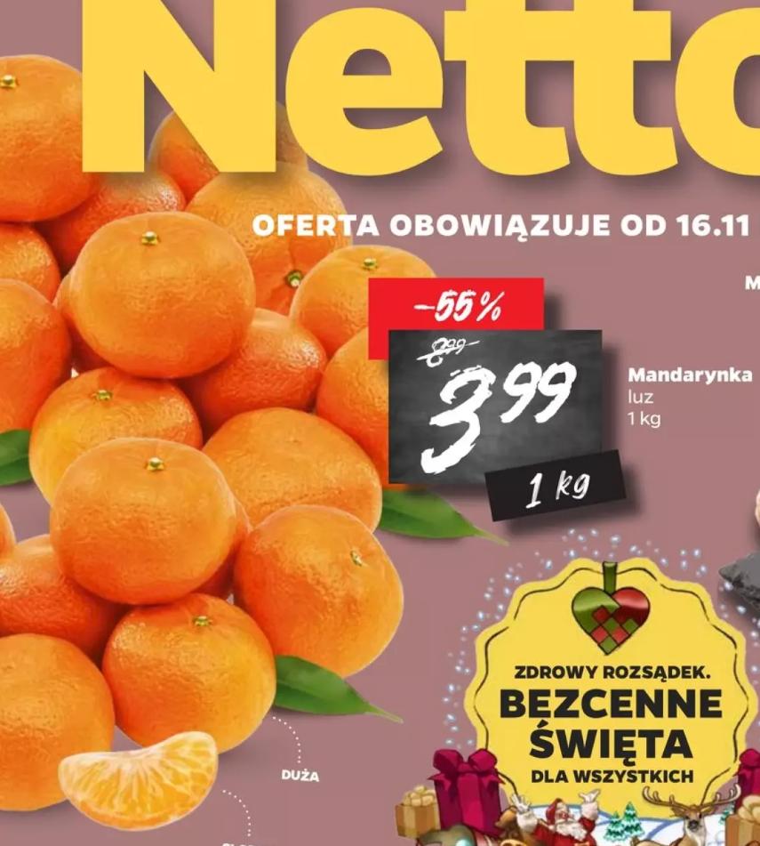 Mandarynka 3,99/kg w Netto