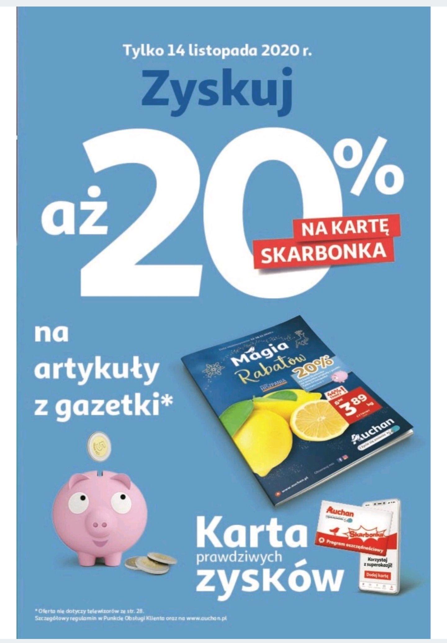 20% na kartę Skarbonka na wszystko z gazetki Auchan w sobotę 14.11