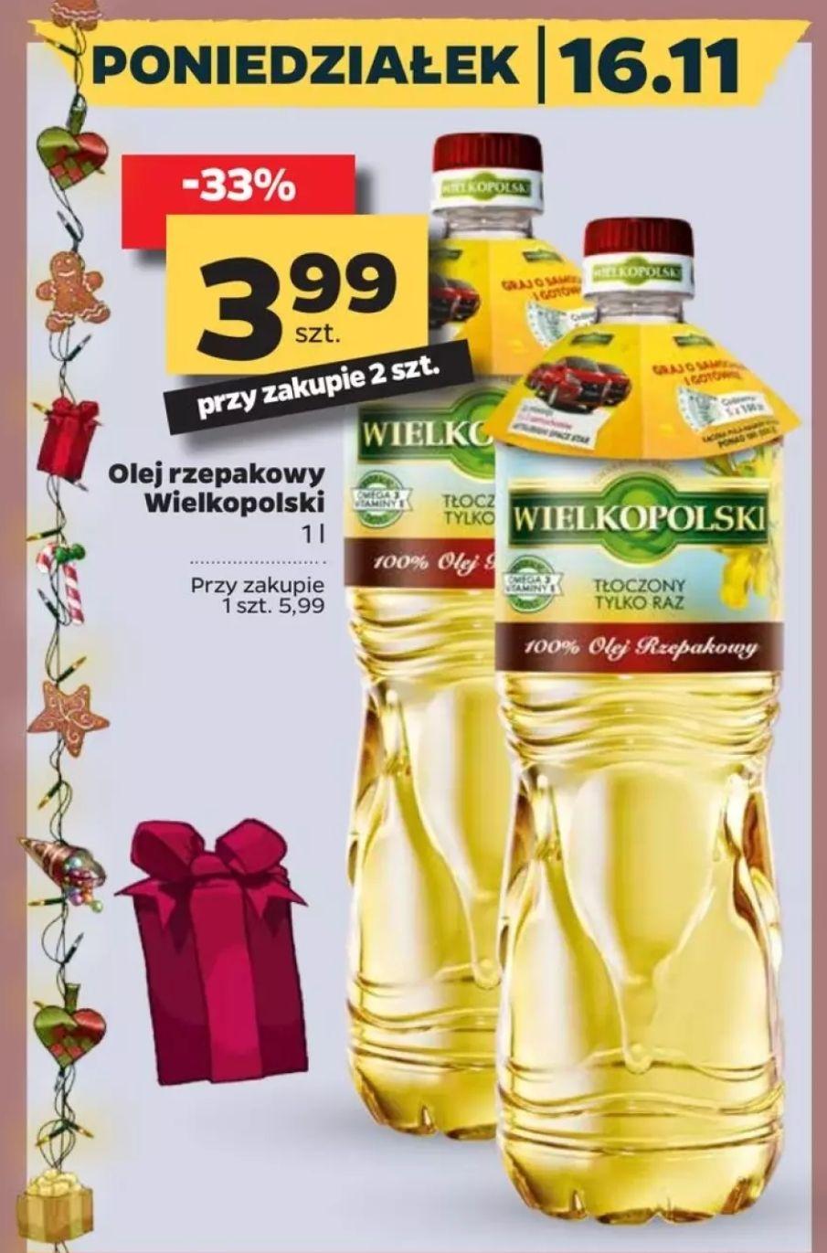 Olej rzepakowy Wielkopolski 1l (cena przy zakupie dwóch) w Netto