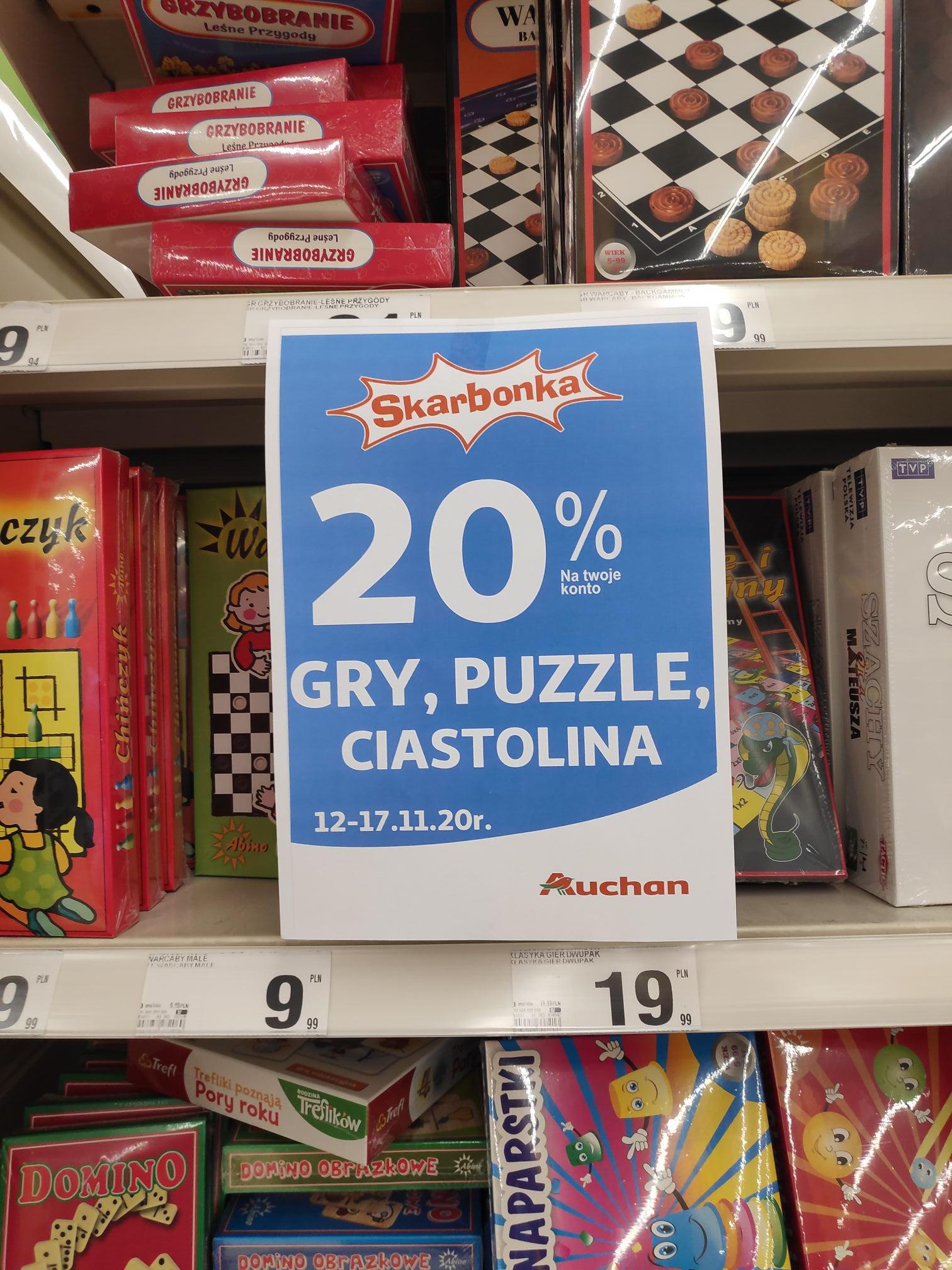 -20% na gry, puzzle, ciastolina Auchan Racibórz