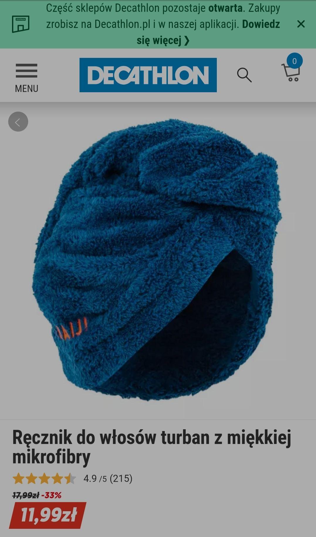 Ręcznik turban do włosów- Nabaiji Decathlon