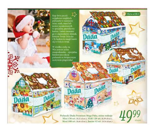 Pieluszki DADA Mega Paka (limitowana edycja świąteczna) za 49,99zł @ Biedronka