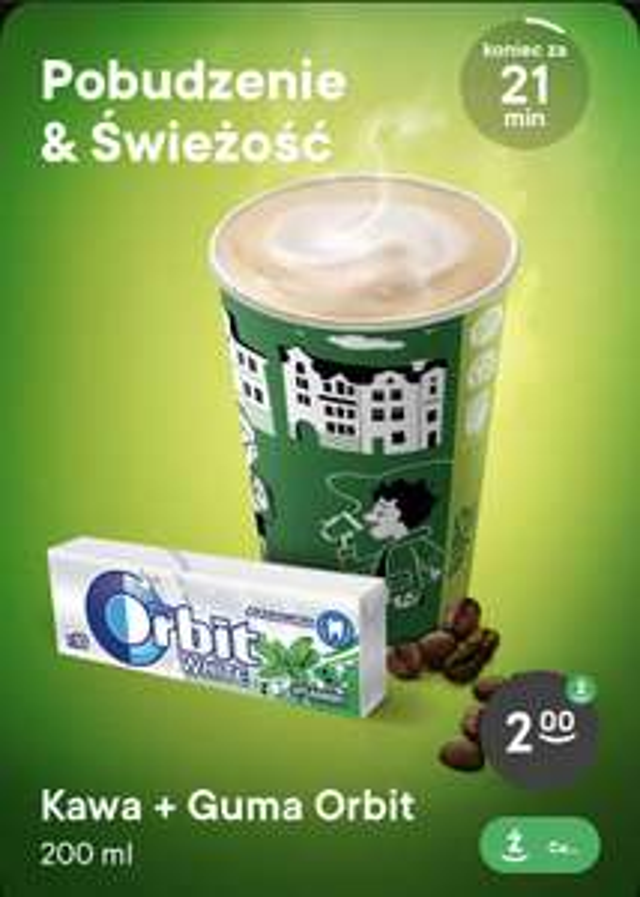 Kawa + guma orbit za 2 zł w Żabce od 6.00 do 10.00