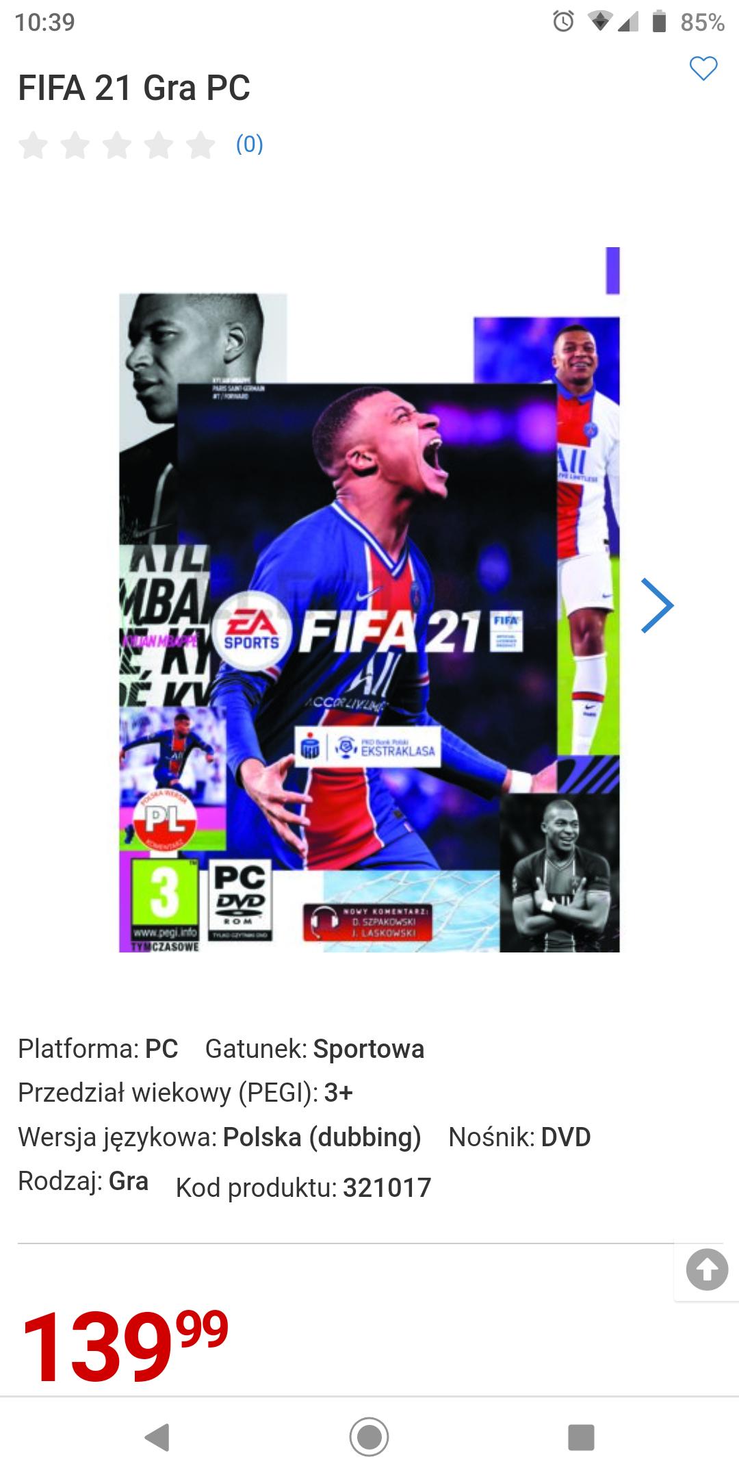 Fifa 21 PC Electro/Avans + Darmowa przesyłka