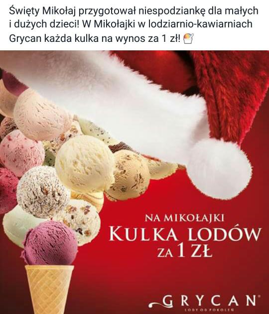 gałka lodów za 1zł w Grycan na Mikołajki