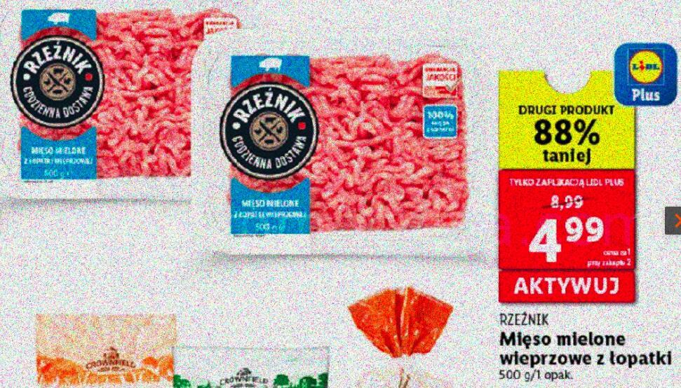 Mięso mielone wieprzowe z łopatki. Przy zakupie dwóch. Lidl.