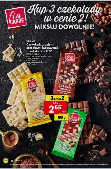 Czekolada z całymi orzechami laskowymi Fin care 2,65zł przy zakupie 3 czekolad - Lidl