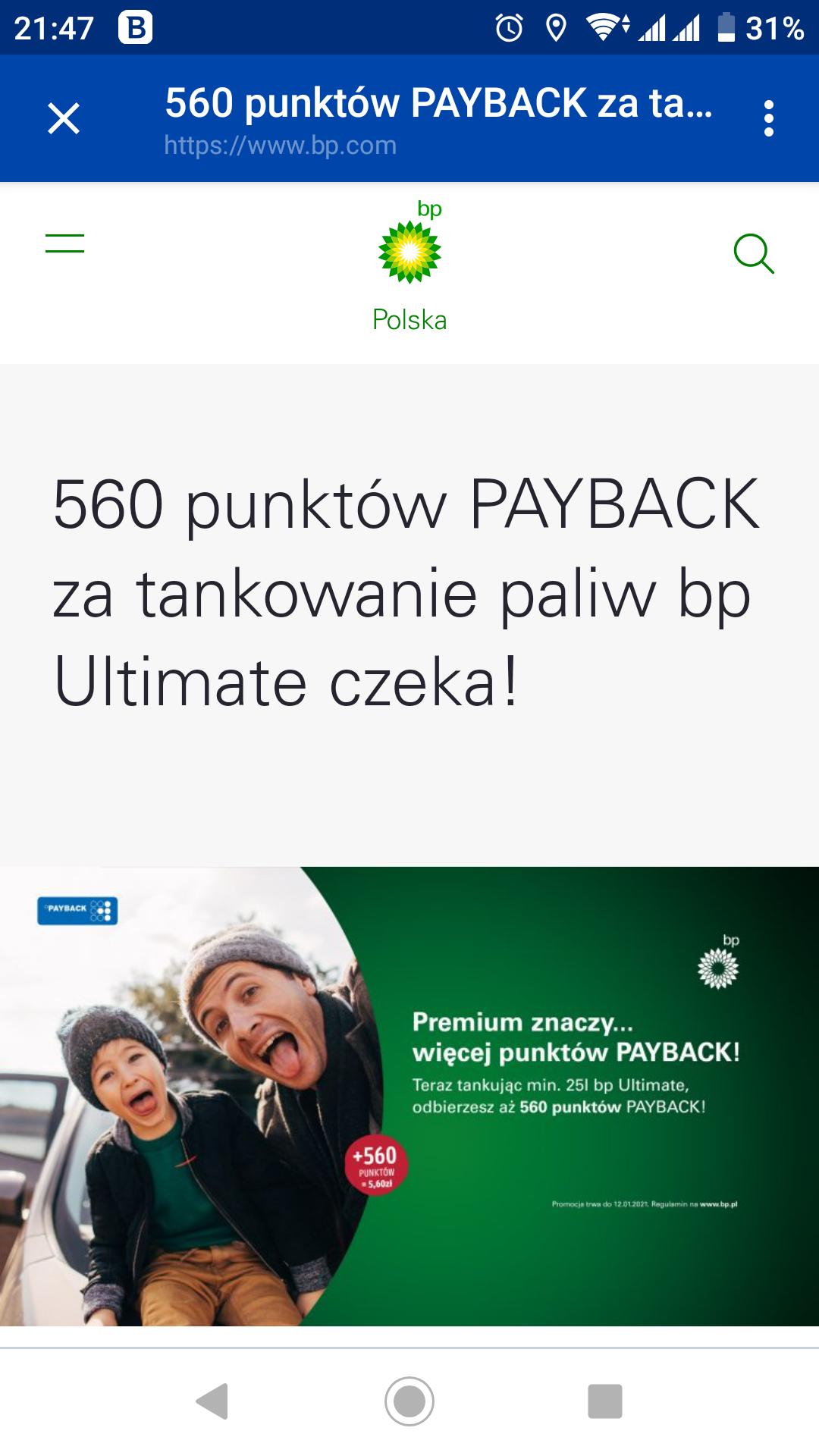 560 punktów PAYBACK za tankowanie paliw bp Ultimate czeka!