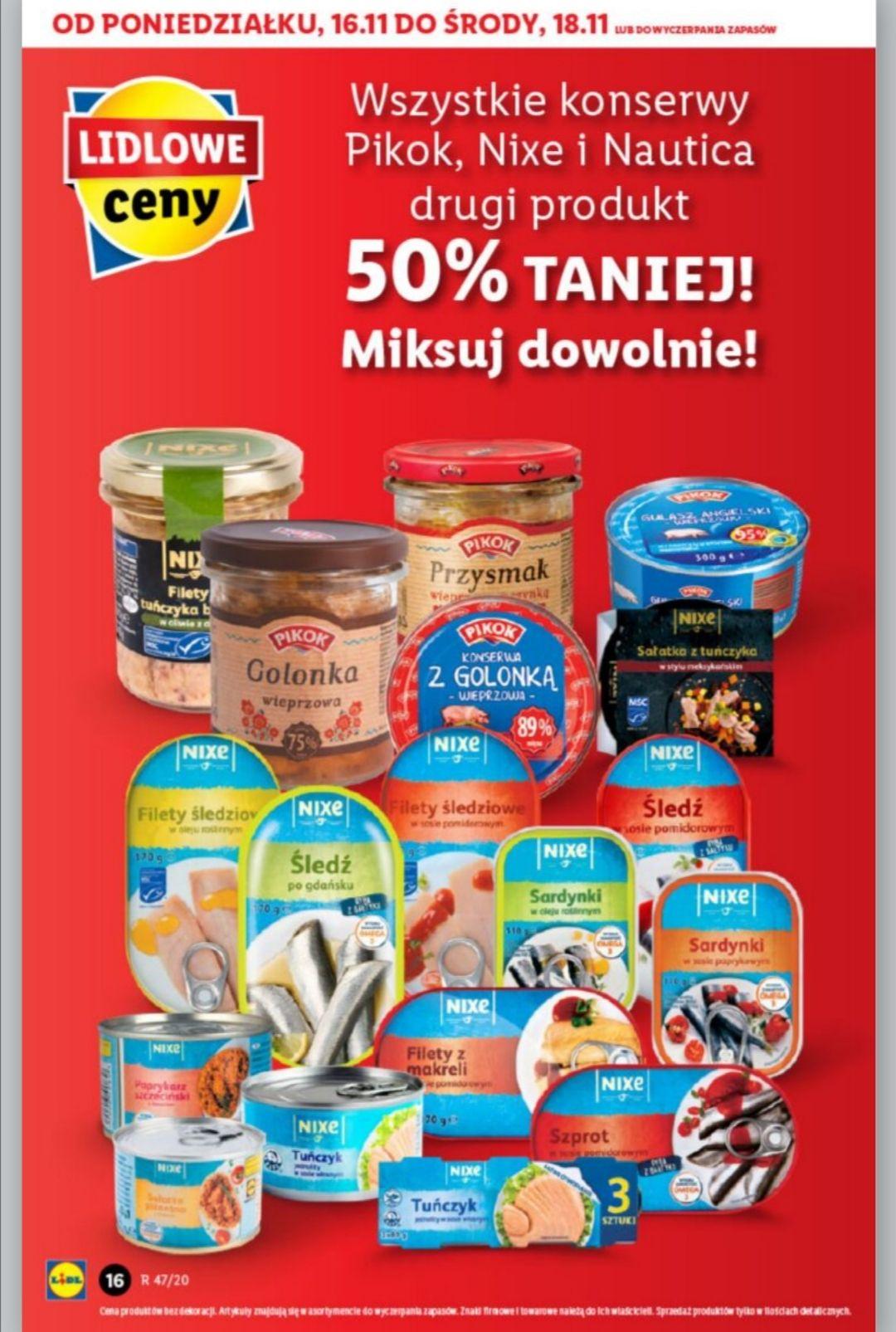 Lidl - wszystkie konserwy Pikok, Nixe, Nautica -50% druga sztuka. Możliwość mieszania.