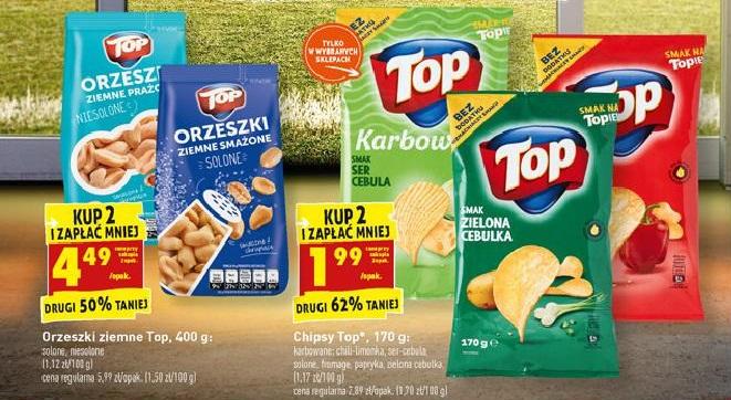 Chipsy Top Chips za 1.99zł oraz Orzeszki ziemne Top za 4.49zł przy 2 sztukach - Biedronka
