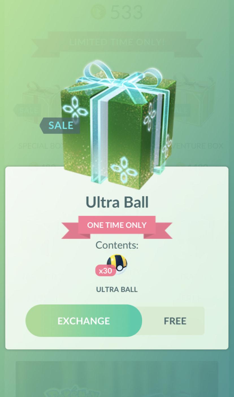 30 ultra ball, pokemon GO
