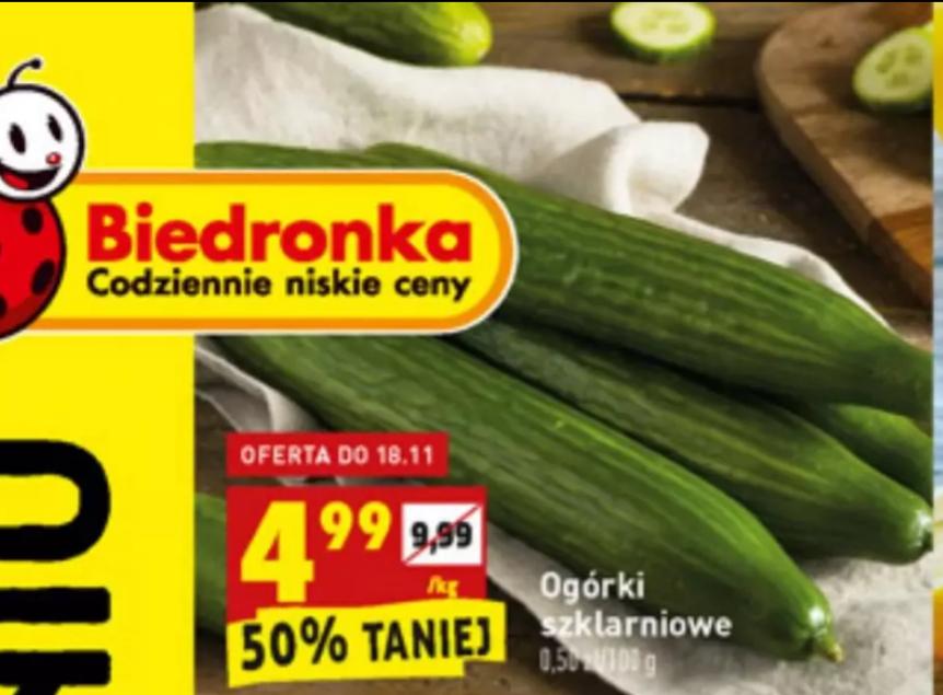 Ogórki szklarniowe 4.99/kg w Biedronce