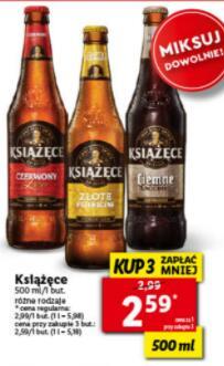 """Piwo """"Książęce"""" różne rodzaje Lidl 500 ml """"Kup 3, zapłać mniej"""""""