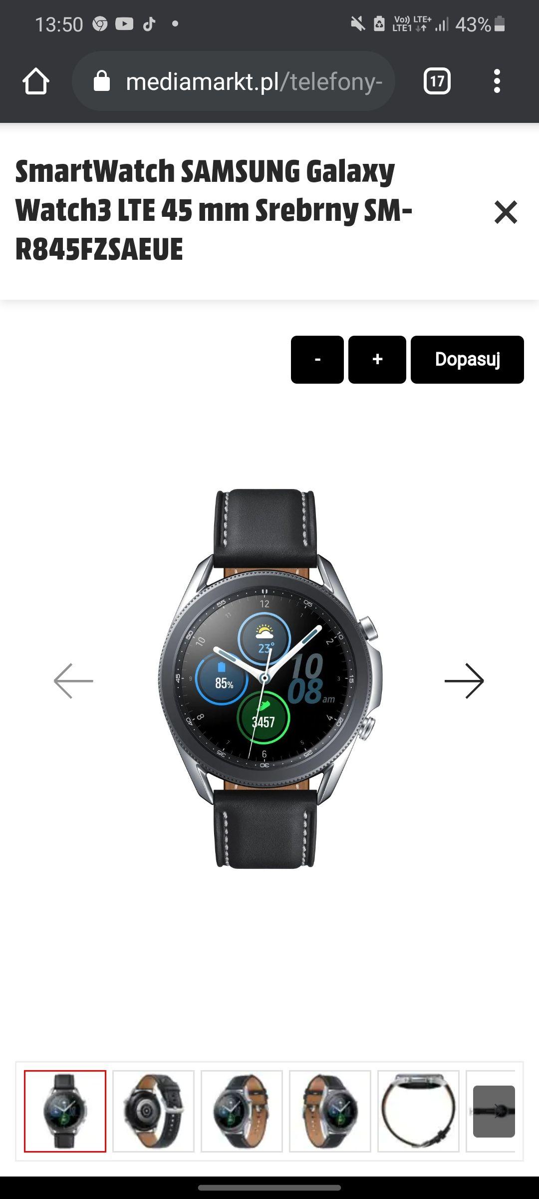 Samsung Galaxy Watch 3 LTE 45mm (1158zł przy rejestracji zegarka na stronie Samsunga)