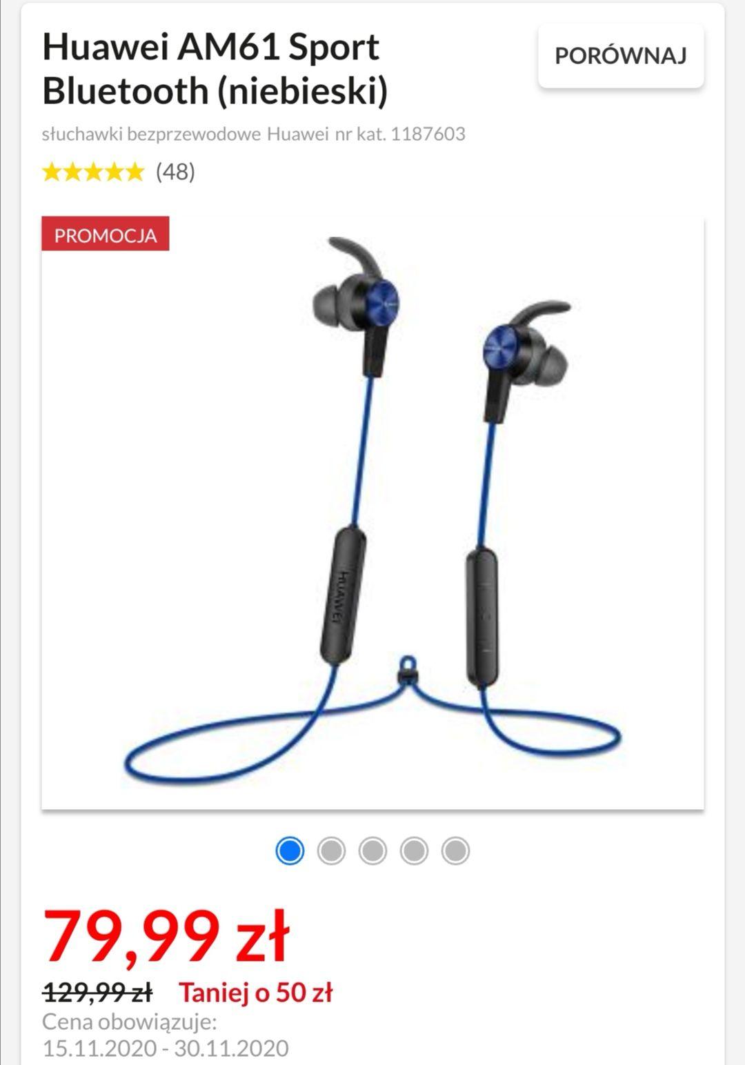 Słuchawki bluetooth HUAWEI AM61 Sport - różne kolory - odbiór osobisty 0 zł