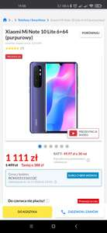 Xiaomi Mi Note 10 lite 6/64GB purpurowy RTVeuroAGD
