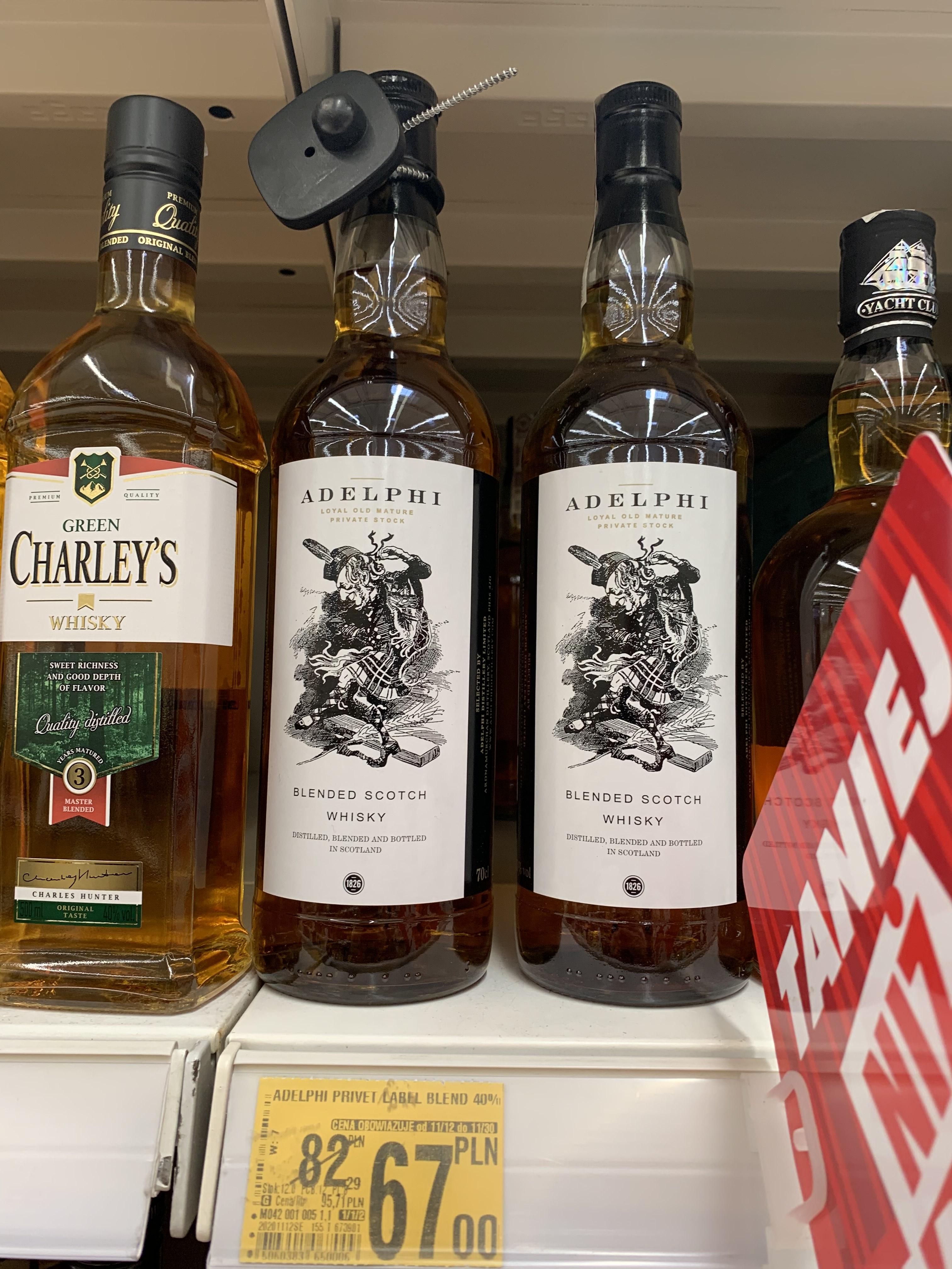 ADELPHI zbiorcza promocja blended whisky i whiskey w Auchan Łódź Polesie