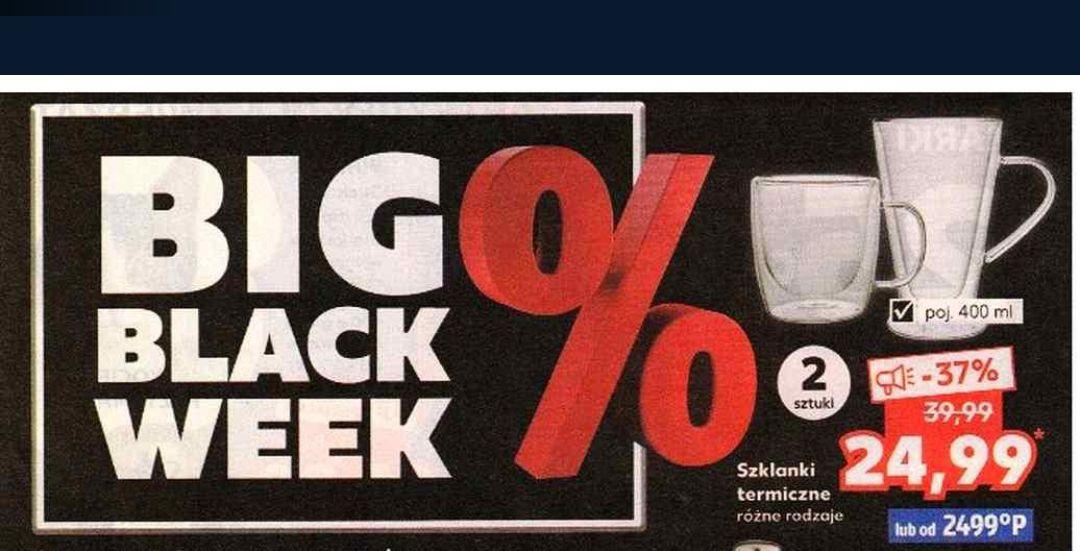 BIG BLACK WEEK np. szklanki termiczne 400 ml 24.99 zł, sztućce 1,49 zł, komplet noży 119.90 zł i inne - Kaufland