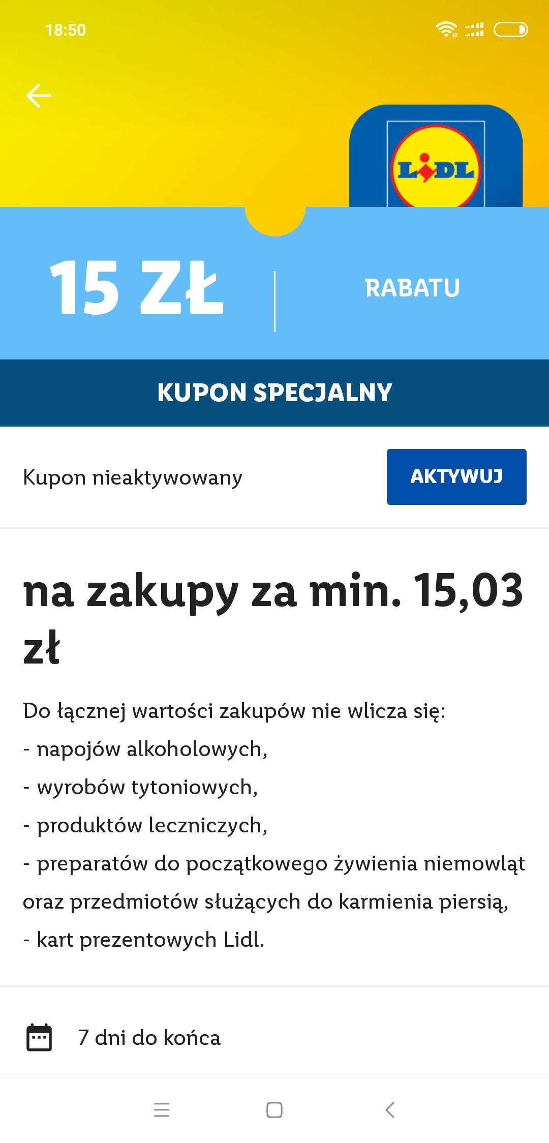 Kupon 15/15,03 w Lidlu dla tych, którzy nie wykorzystali kuponu na piwo