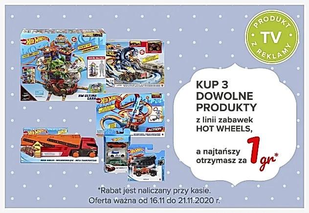 Trzy produkty z linii Hot Wheels - trzeci najtańszy za grosz